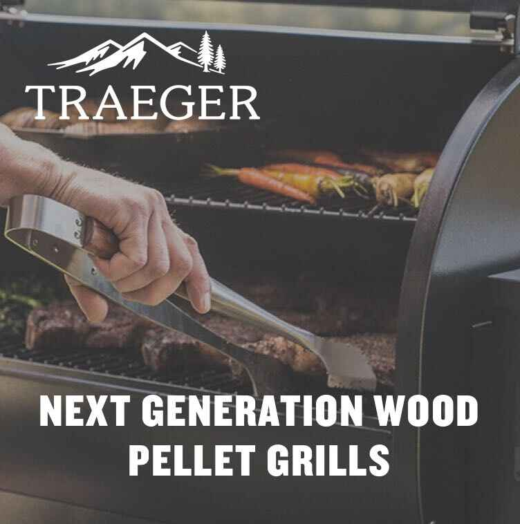 Traeger Grill with logo - Next Generation Wood Pellet Grills