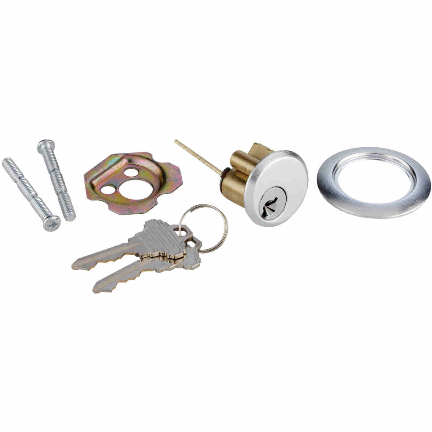 Prime-Line 5-Pin Brass Diecast Rim Cylinder Lock with Trim Ring Image 3