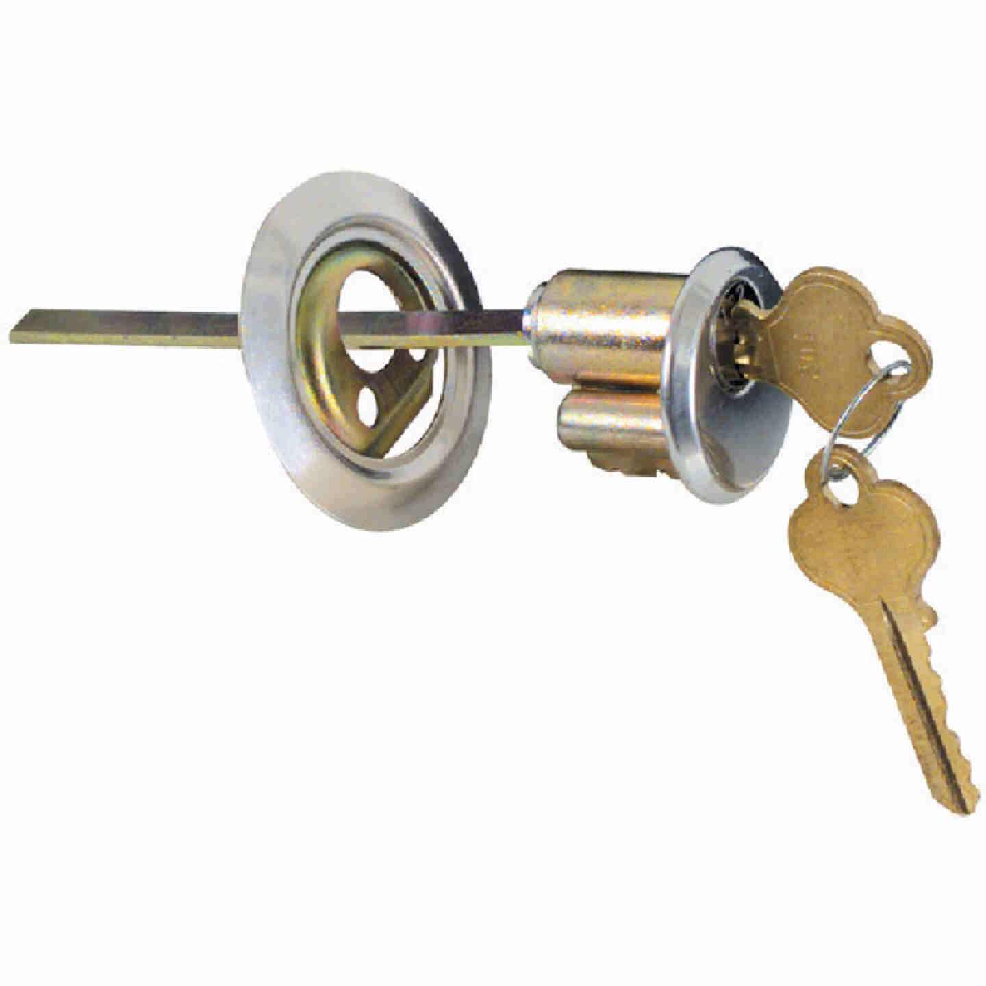 Prime-Line 5-Pin Brass Diecast Rim Cylinder Lock with Trim Ring Image 4