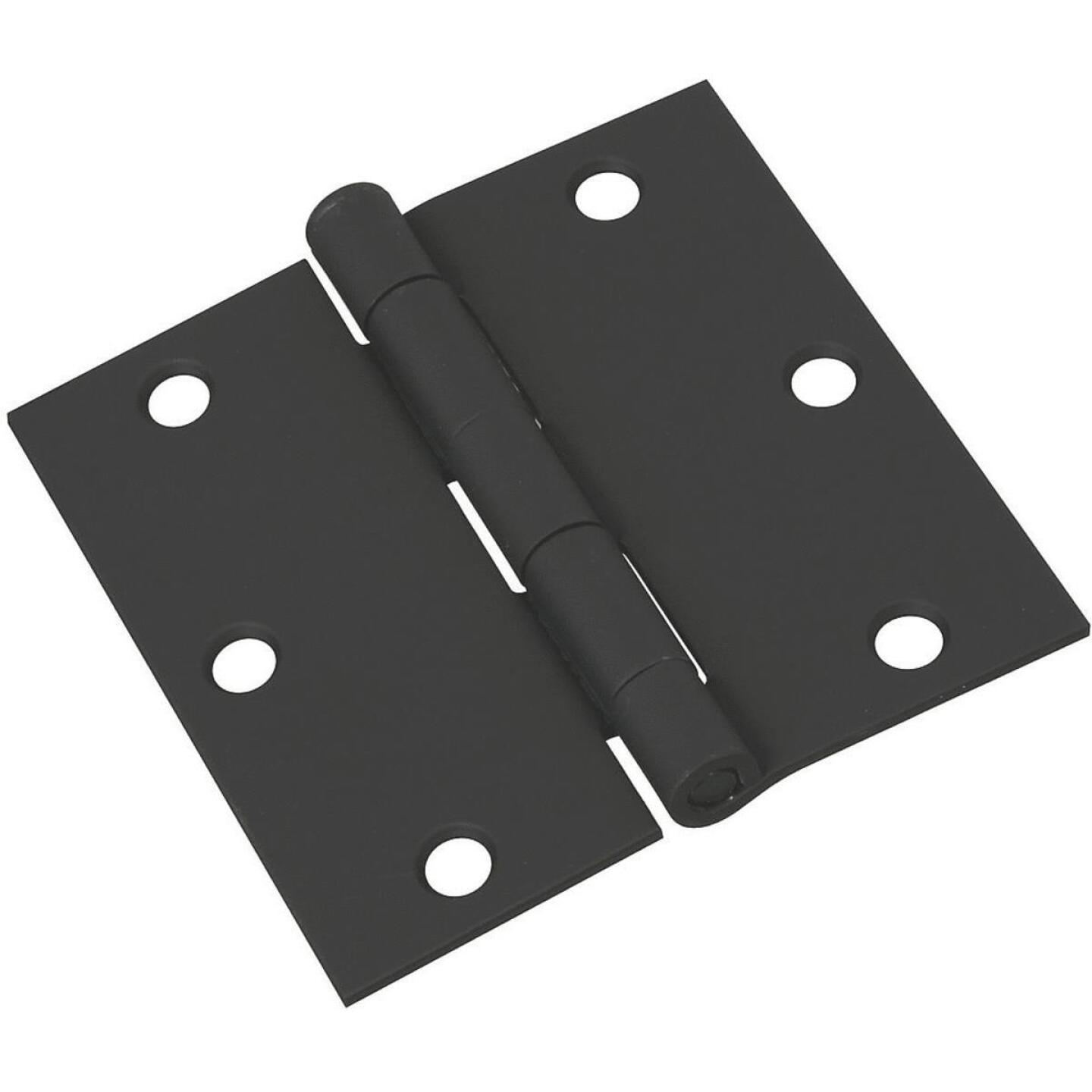National 3-1/2 In. Square Black Door Hinge Image 1