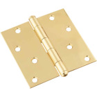 National 4 In. Square Solid Brass Door Hinge Image 1